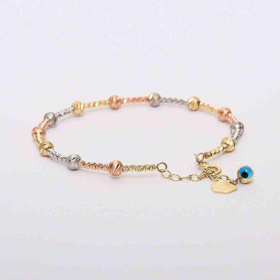Mücevher Dünyası - 14 Ayar Mavi Nazar Boncuklu Dorika Altın Bilezik & Kelepçe | Mücevher Dünyası