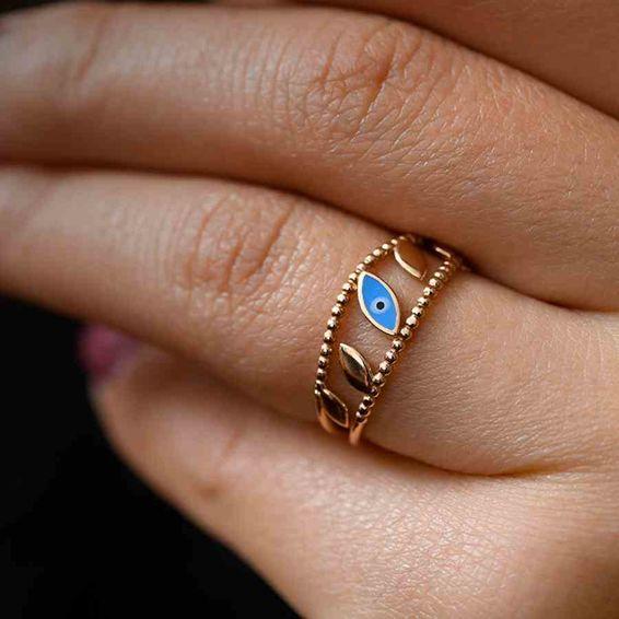 Mücevher Dünyası - 14 Ayar Mavi Nazar Desenli İnce Altın Yüzük | Mücevher Dünyası