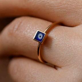 Mücevher Dünyası - 14 Ayar Mavi Nazar Kare Altın Eklem Yüzük | Mücevher Dünyası