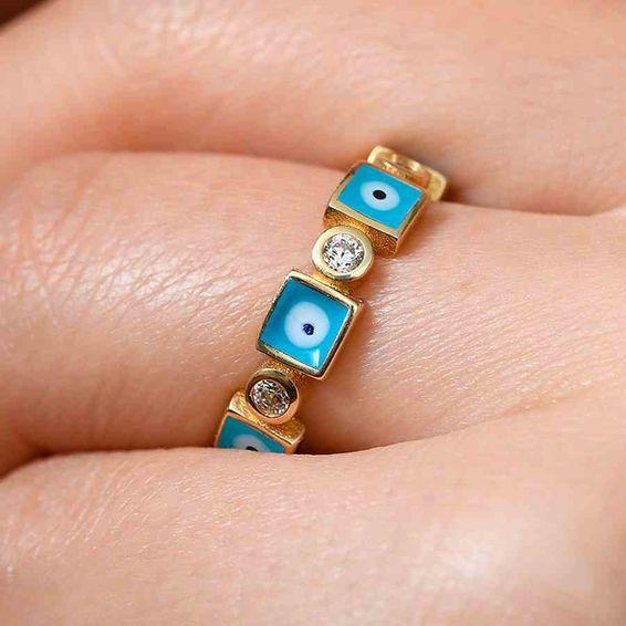 Mücevher Dünyası - 14 Ayar Mavi Nazar Taşlı Altın Yüzük | Mücevher Dünyası