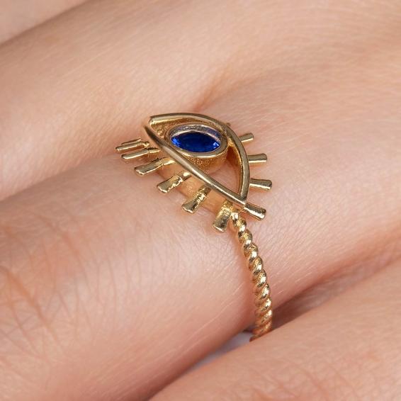 Mücevher Dünyası - 14 Ayar Mavi Quartz Taşlı Kirpik Göz Altın Yüzük - 12