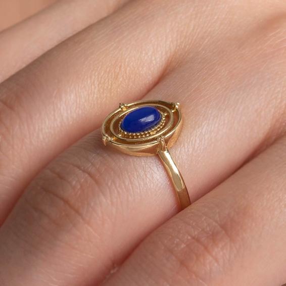 Mücevher Dünyası - 14 Ayar Mavi Taşlı Altın Yüzük -15