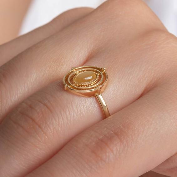 Mücevher Dünyası - 14 Ayar Sarı Taşlı Altın Yüzük -15
