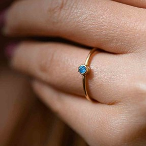 Mücevher Dünyası - 14 Ayar Mavi Taşlı Altın Yüzük | Mücevher Dünyası