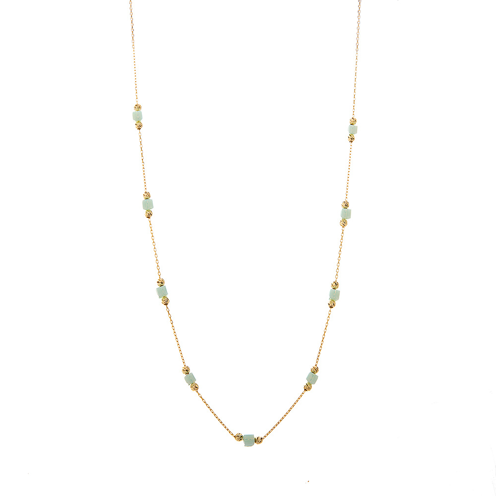 Mücevher Dünyası - 14 ayar Mavi Taşlı Dorika Altın Kolye