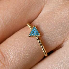 Mücevher Dünyası - 14 Ayar Mavi Taşlı Üçgen Altın Yüzük | Mücevher Dünyası