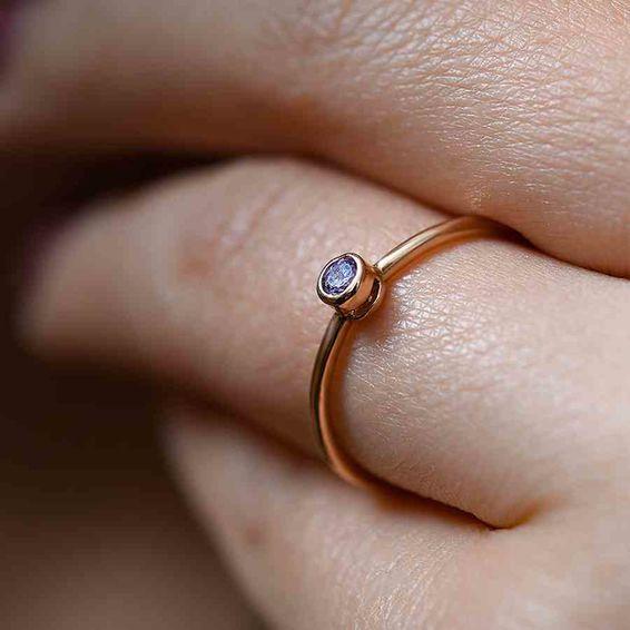 Mücevher Dünyası - 14 Ayar Mor Taşlı Altın Eklem Yüzük | Mücevher Dünyası