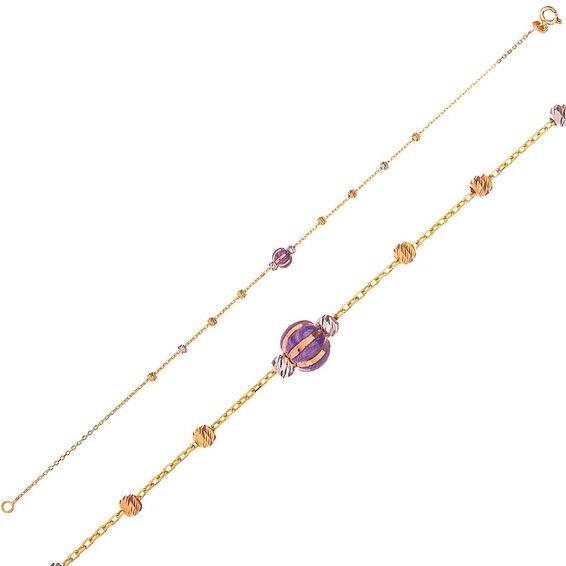 Mücevher Dünyası - 14 Ayar Mor Taşlı Dorika Altın Bileklik