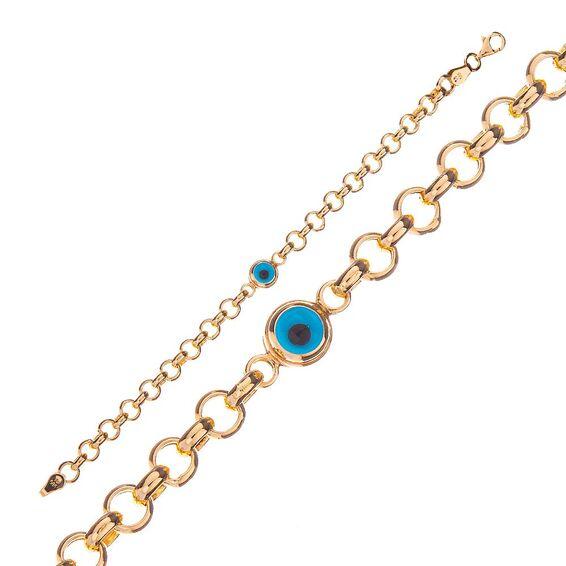 Mücevher Dünyası - 14 Ayar Taşlı Nazar Boncuklu Çocuk Altın Bileklik - 14 Cm.