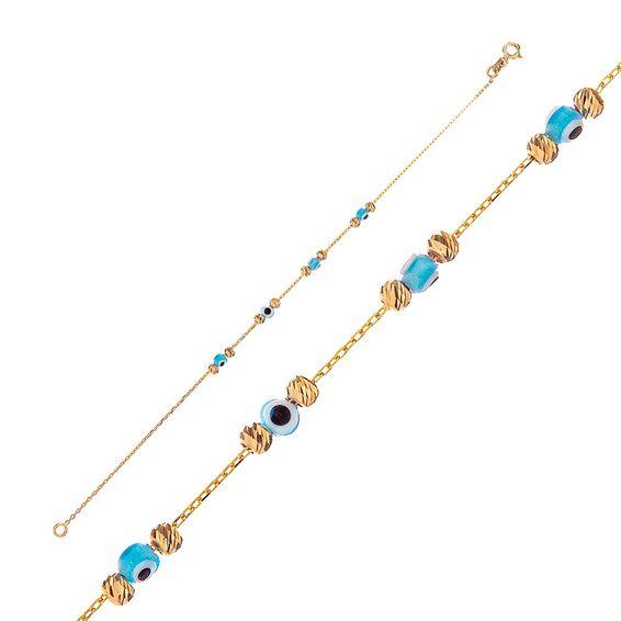 Mücevher Dünyası - 14 Ayar Taşlı Nazar Boncuklu Dorika Altın Bileklik