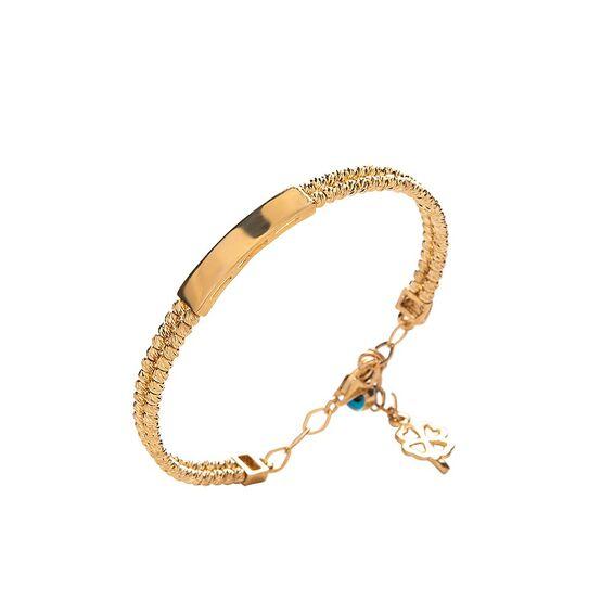 Mücevher Dünyası - 14 Ayar Taşlı Nazar Boncuklu Dört Yapraklı Yonca Dorika Altın Çocuk Kelepçe Bilezik