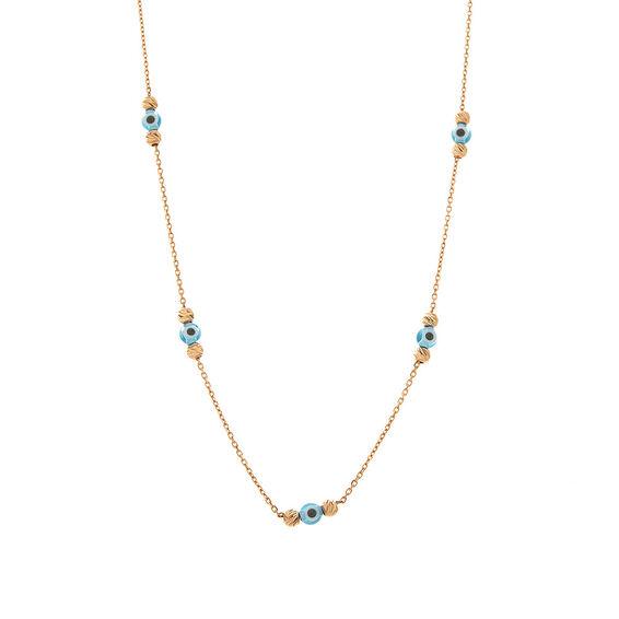 Mücevher Dünyası - 14 Ayar Taşlı Nazar Boncuklu Dorika Altın Kolye