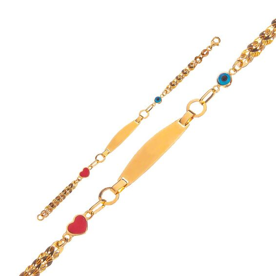 Mücevher Dünyası - 14 Ayar Taşlı Nazar Boncuklu Kalpli Altın Çocuk Künye