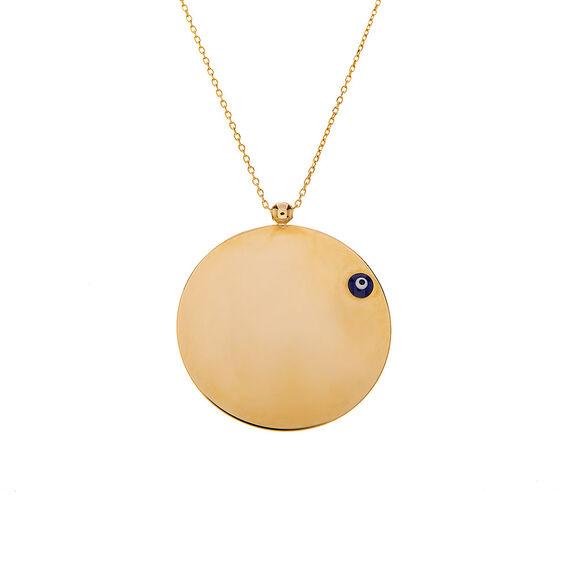 Mücevher Dünyası - 14 Ayar Taşlı Nazar Boncuklu Yuvarlak Plaka Altın Kolye