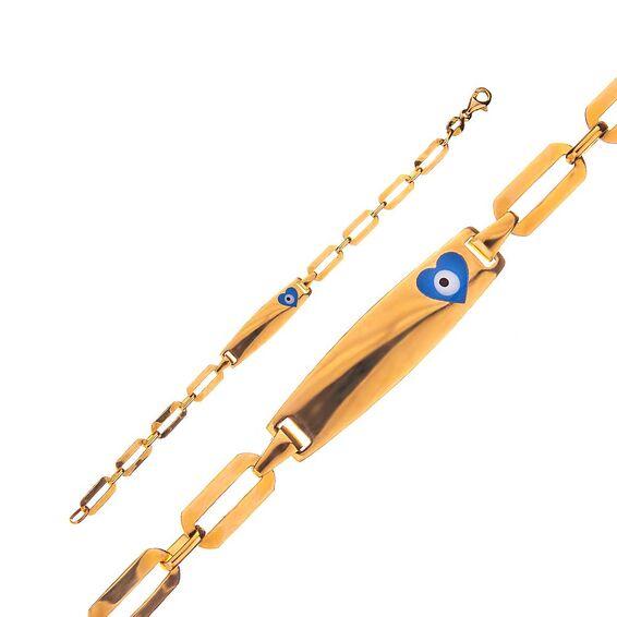Mücevher Dünyası - 14 Ayar Taşlı Nazar Boncuklu Zincir Altın Çocuk Künye