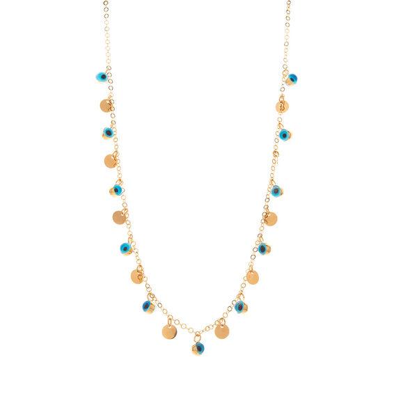 Mücevher Dünyası - 14 Ayar Taşlı Nazar Toplu ve Pullu Altın Kolye