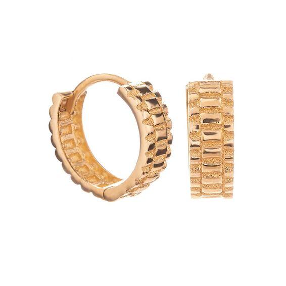 Mücevher Dünyası - 14 Ayar Özel Tasarım Kalın Halka Altın Küpe