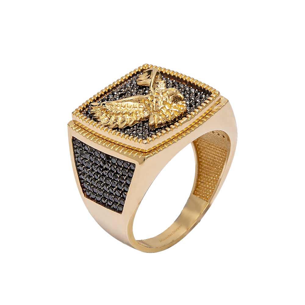 Mücevher Dünyası - 14 Ayar Taşlı Kartal Motifli Altın Erkek Yüzük