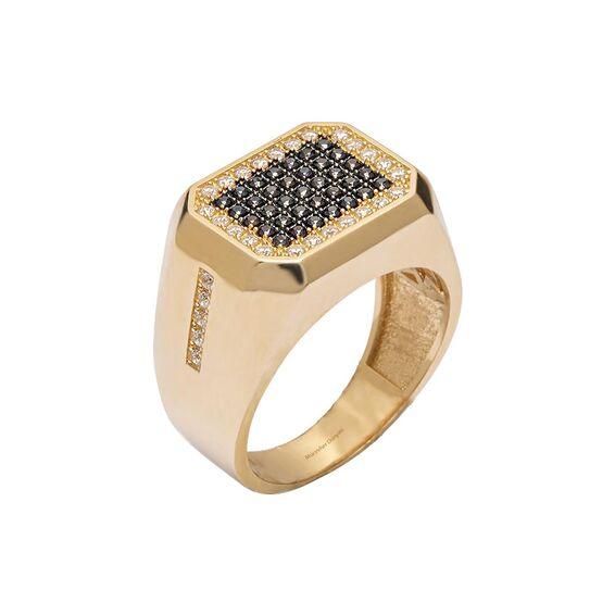 Mücevher Dünyası - 14 Ayar Taşlı Özel Tasarım Altın Erkek Yüzük