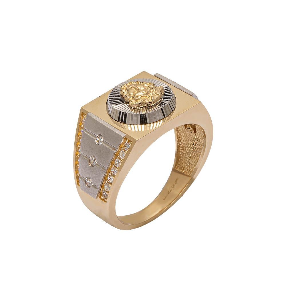 Mücevher Dünyası - 14 Ayar Özel Tasarım Taşlı Altın Erkek Yüzük