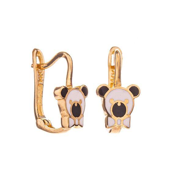 Mücevher Dünyası - 14 Ayar Panda Çocuk Altın Küpe