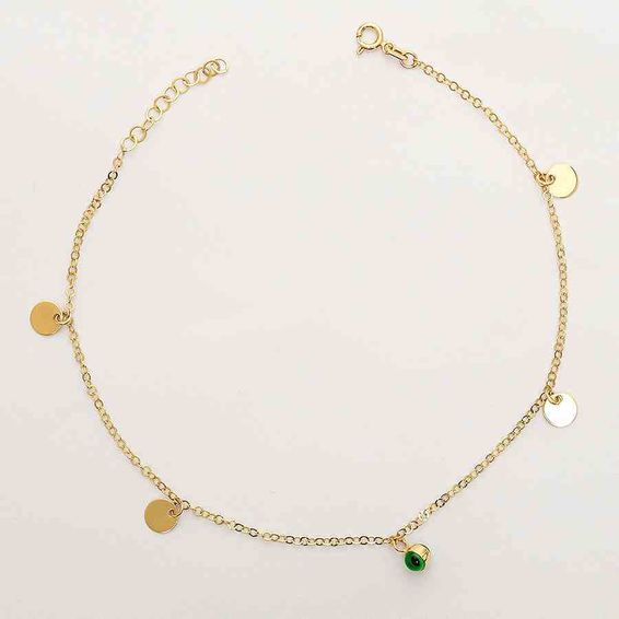 Mücevher Dünyası - 14 Ayar Pullu Yeşil Top Altın Halhal | Mücevher Dünyası