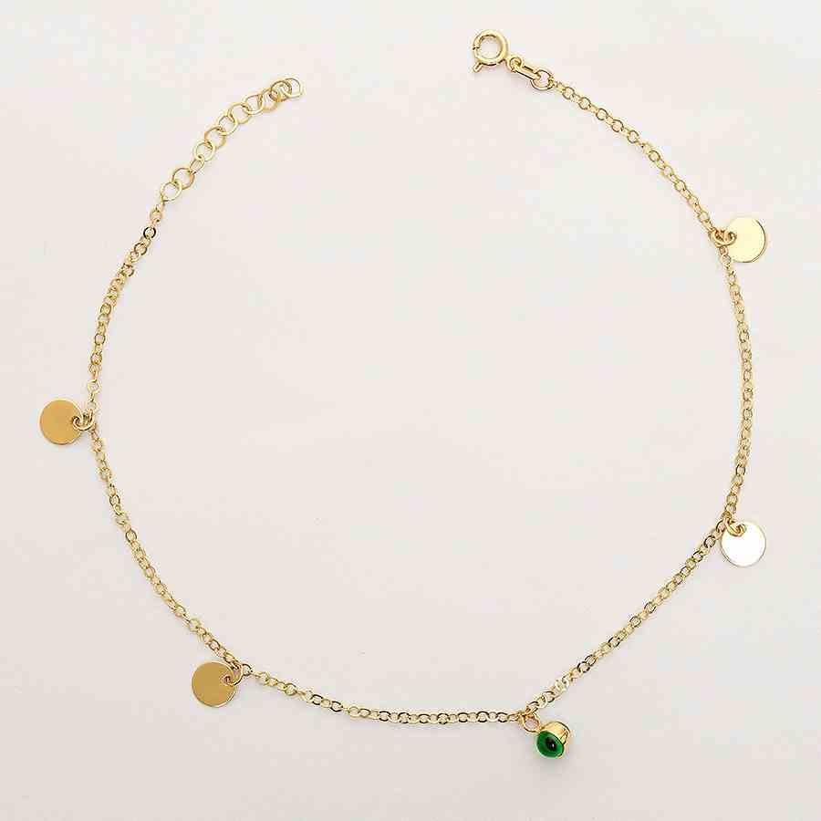 Mücevher Dünyası - 14 Ayar Pullu Yeşil Top Altın Halhal   Mücevher Dünyası