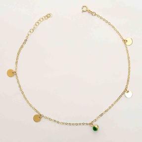 - 14 Ayar Pullu Yeşil Top Altın Halhal   Mücevher Dünyası