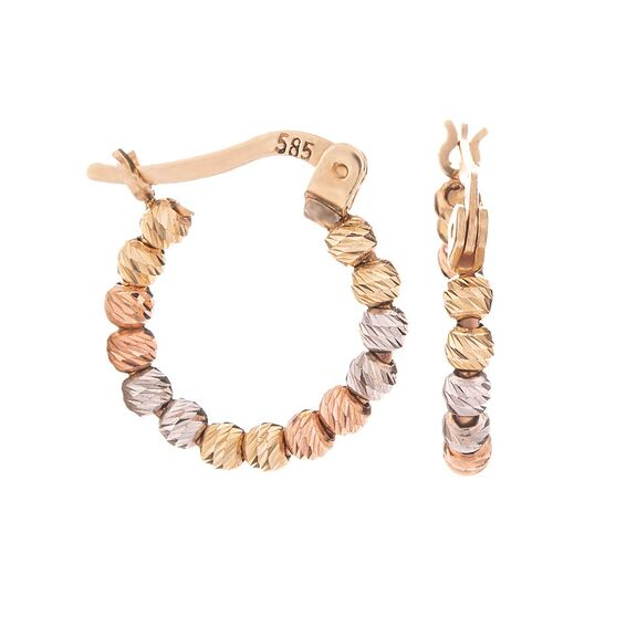 Mücevher Dünyası - 14 Ayar Renkli Dorika Halka Altın Küpe