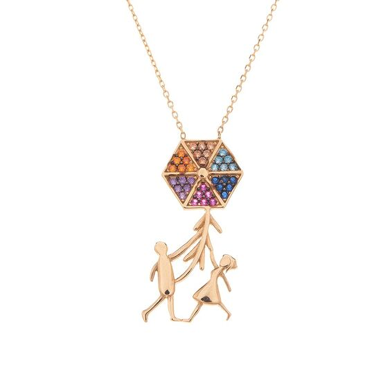 Mücevher Dünyası - 14 Ayar Renkli Taşlı Aile Ve Uçurtma Altın Kolye