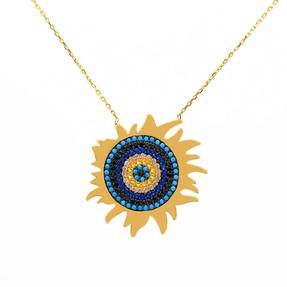 Mücevher Dünyası - 14 Ayar Renkli Taşlı Güneş Altın Kolye | Mücevher Dünyası