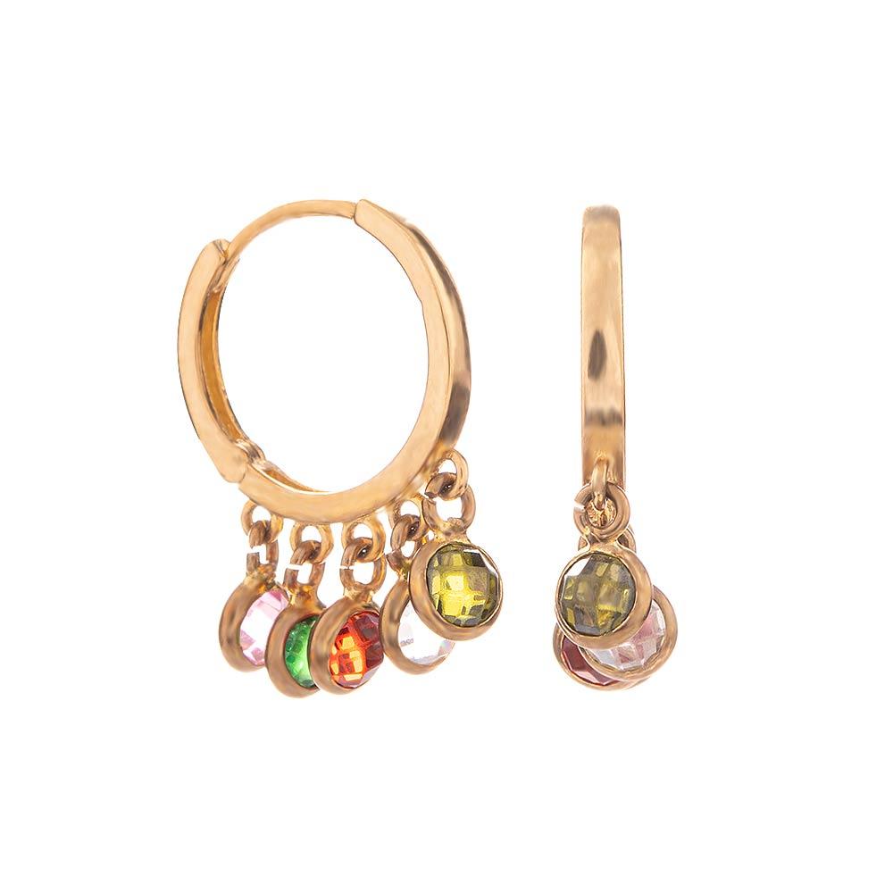 Mücevher Dünyası - 14 Ayar Renkli Taşlı Halka Altın Küpe