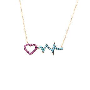 Mücevher Dünyası - 14 Ayar Renkli Taşlı Kalp Atışı Altın Kolye