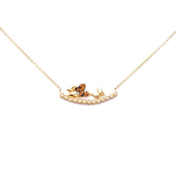 Mücevher Dünyası - 14 Ayar Renkli Taşlı Kelebek Altın Kolye