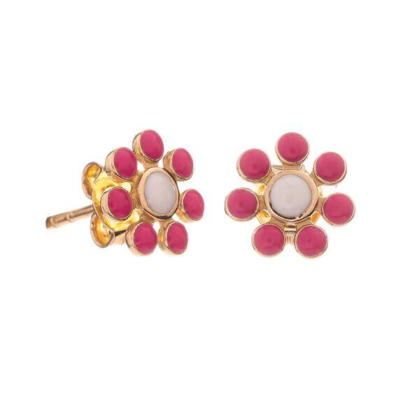 Mücevher Dünyası - 14 Ayar Renkli Papatya Altın Küpe