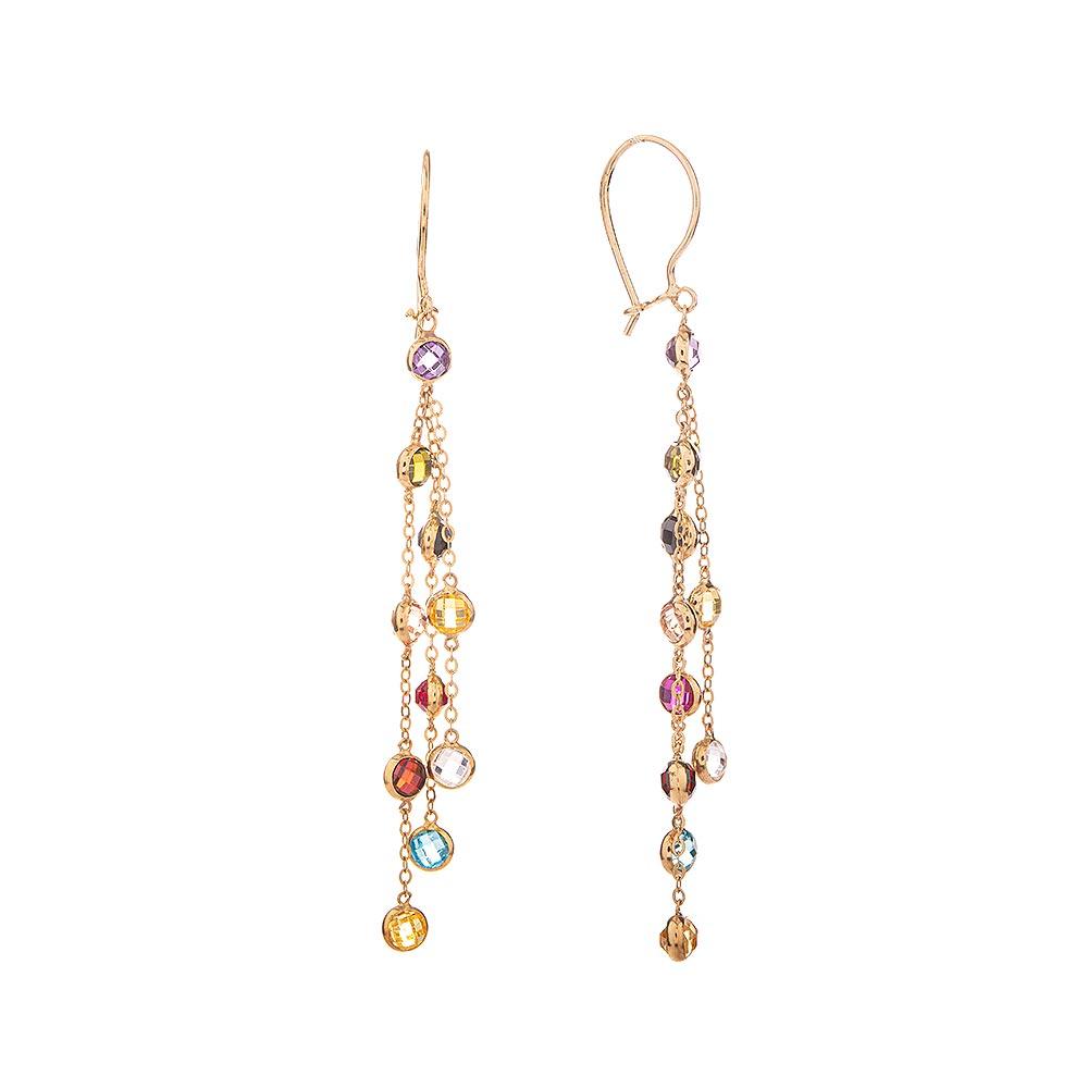 Mücevher Dünyası - 14 Ayar Renkli Taşlı Uzun Zincirli Altın Küpe