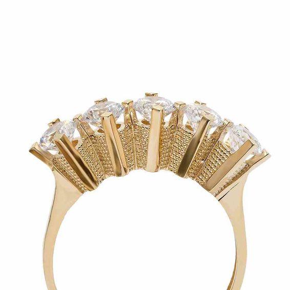 Mücevher Dünyası - 14 Ayar Sarı Beştaş Altın Yüzük   Mücevher Dünyası