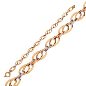 Mücevher Dünyası - 14 Ayar Sarı Beyaz Altın Bileklik
