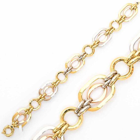 Mücevher Dünyası - 14 Ayar Sarı Beyaz Altın Bileklik   Mücevher Dünyası