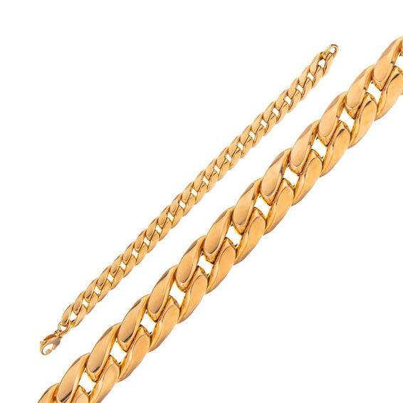 14 Ayar Sarı Beyaz Zincir Altın Bileklik