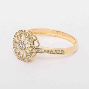 Mücevher Dünyası - 14 Ayar Sarı Sırataşlı Altın Yüzük | Mücevher Dünyası