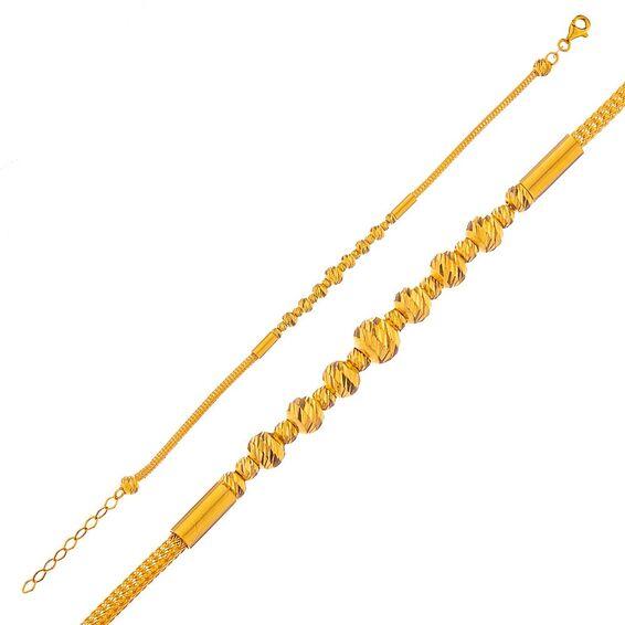 Mücevher Dünyası - 14 Ayar Dorika Yaldızlı Altın Bileklik