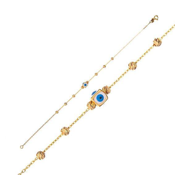 Mücevher Dünyası - 14 Ayar Taşlı Dorika Nazar Boncuklu Altın Bileklik