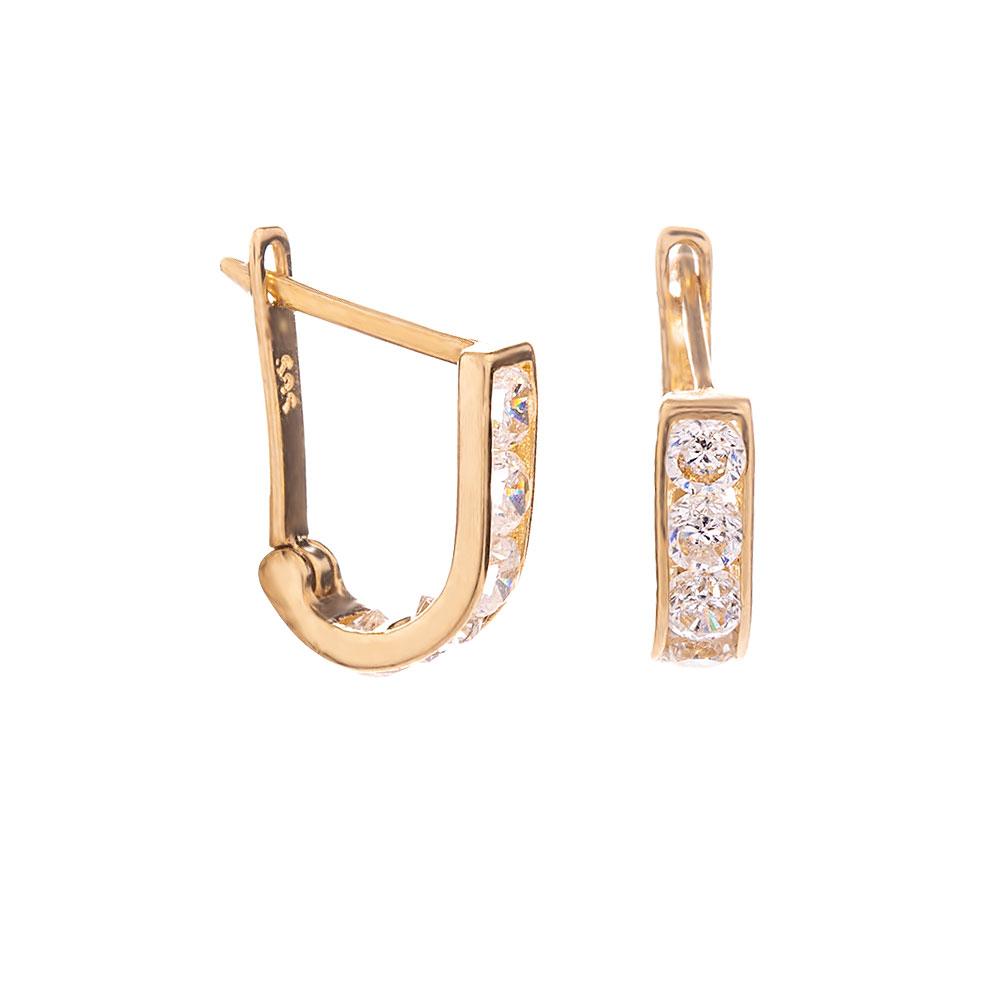 Mücevher Dünyası - 14 Ayar Sıra Taşlı Altın Küpe