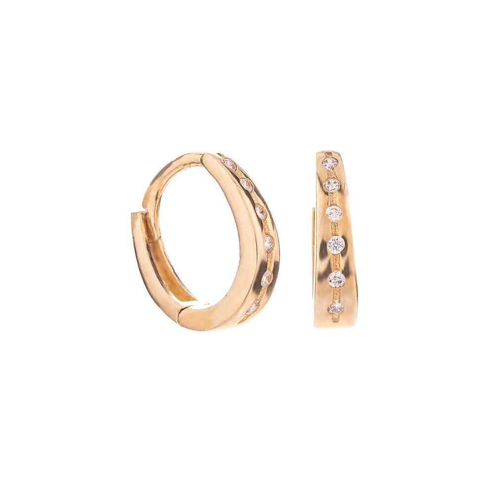 Mücevher Dünyası - 14 Ayar Sıra Taşlı Halka Altın Küpe