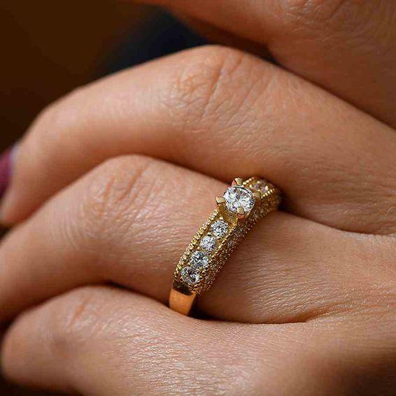 Mücevher Dünyası - 14 Ayar Sırataşlı 14 Ayar Altın Yüzük   Mücevher Dünyası