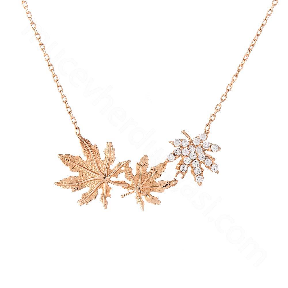 Mücevher Dünyası - 14 Ayar Sırataşlı Çınar Yaprağı Altın Kolye