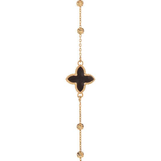 Mücevher Dünyası - 14 Ayar Siyah Çiçek Dorika Altın Bileklik