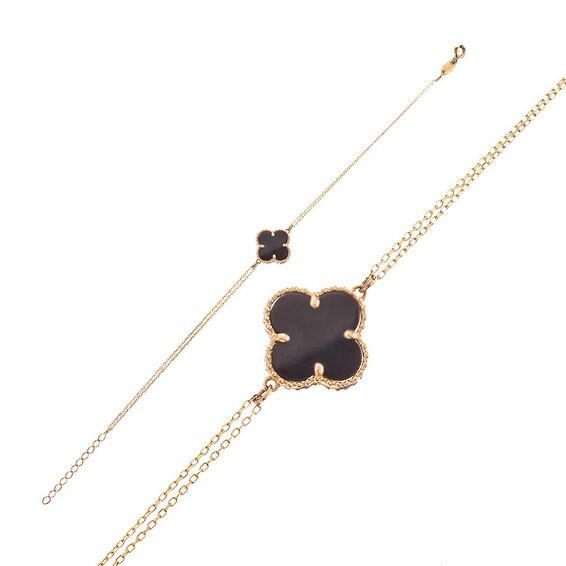 Mücevher Dünyası - 14 Ayar Siyah Dört Yapraklı Yonca Altın Bileklik