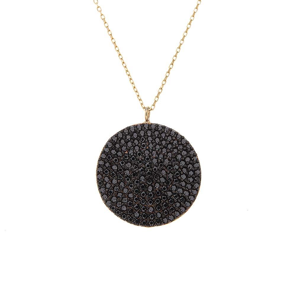Mücevher Dünyası - 14 Ayar Siyah Taşlı Yuvarlak Plaka Altın Kolye